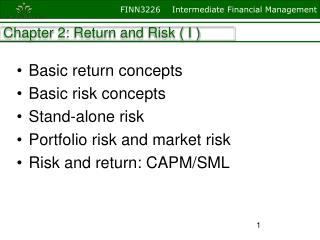 Chapter 2: Return and Risk ( I )
