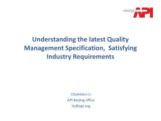 Understanding the latest Quality Management Specification,  Satisfying Industry Requirements