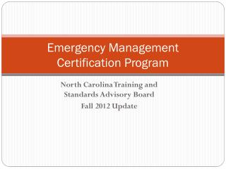 Emergency Management Certification Program