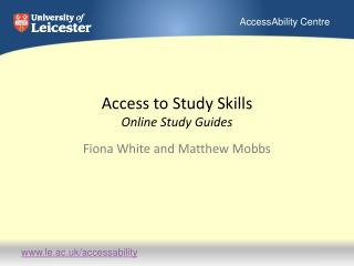 Access to Study Skills Online Study Guides