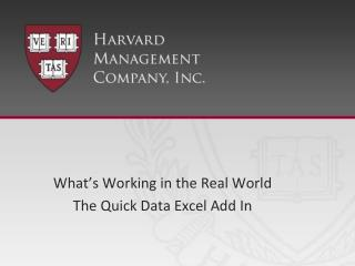 What's Working in the Real World The Quick Data Excel Add In