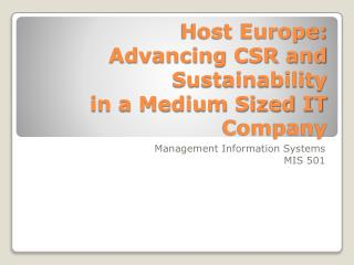 Host Europe:  Advancing CSR and Sustainability  in a Medium Sized IT Company