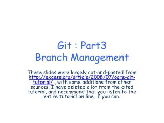 Git  : Part3 Branch Management