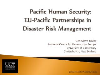 Pacific Human Security:  EU-Pacific Partnerships in Disaster Risk Management