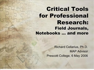 critical tools for professional research: field journals, notebooks   and more