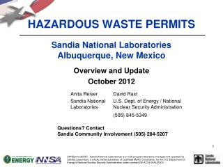 HAZARDOUS WASTE PERMITS Sandia National Laboratories Albuquerque, New Mexico