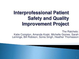 Interprofessional Patient Safety and Quality Improvement Project
