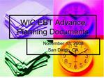 wic ebt advance planning documents