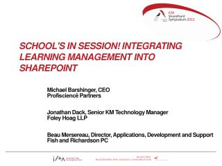 School's in Session! Integrating Learning Management into SharePoint