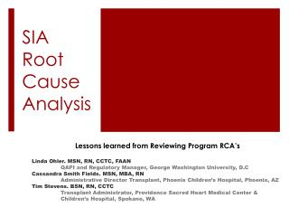 SIA Root Cause Analysis