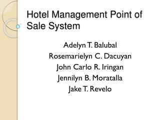 Hotel Management Point of Sale System