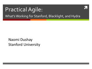 Practical Agile: What's Working for Stanford,  Blacklight , and Hydra