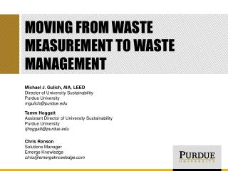 Moving from waste measurement to waste management