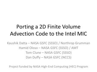 Porting a 2D Finite Volume Advection Code to the Intel MIC