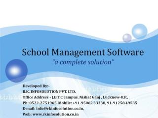"School Management Software ""a complete solution"""
