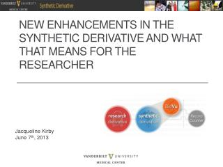 New Enhancements in the Synthetic Derivative and What that Means for the Researcher