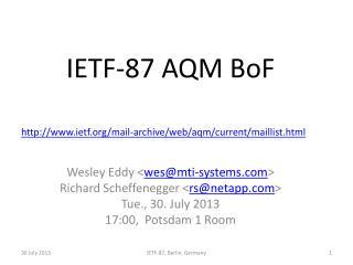 IETF-87 AQM BoF