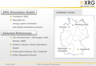 XRG Simulation GmbH Founded in 2005 Specialist for  energy system simulation and related simulation products Selected Re