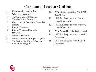 Constants Lesson Outline