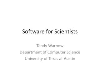 Software for Scientists