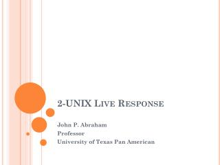 2-UNIX Live Response
