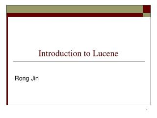 Introduction to  Lucene