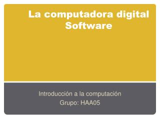 La computadora digital Software