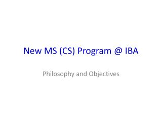 New MS (CS) Program @ IBA
