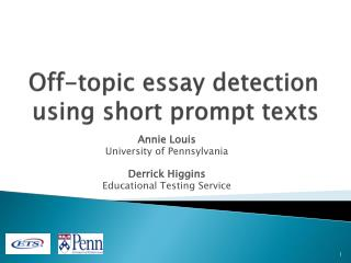 Off-topic essay detection using short prompt texts