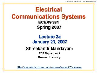 Electrical  Communications Systems ECE.09.331 Spring 2007