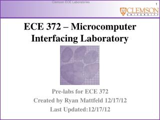 ECE  372 – Microcomputer Interfacing Laboratory