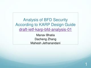 Analysis of BFD Security According to KARP Design  Guide draft-ietf-karp-bfd-analysis-01