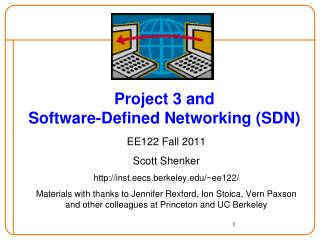 Project 3 and Software-Defined Networking (SDN)