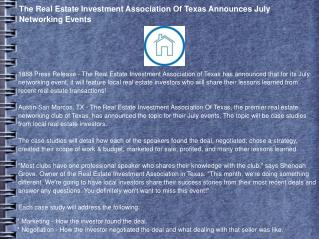 The Real Estate Investment Association Of Texas Announces