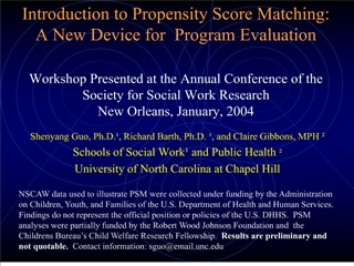 introduction to propensity score matching:  a new device for  program evaluation  workshop presented at the annual confe