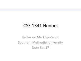 CSE 1341 Honors