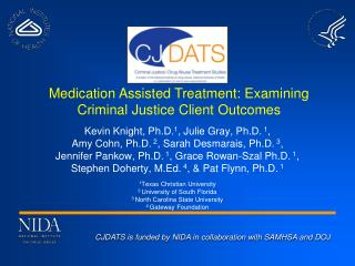 CJDATS  is funded by NIDA in collaboration with SAMHSA and  DOJ