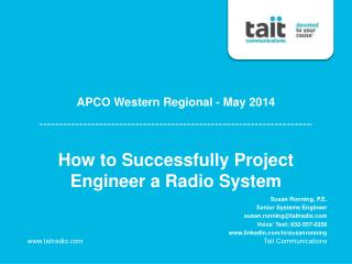 How to Successfully Project Engineer a Radio System