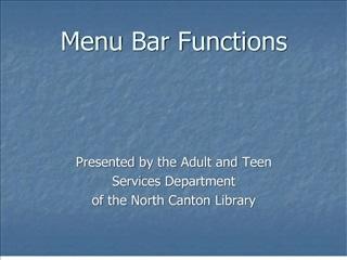 menu bar functions
