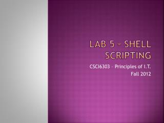 Lab 5 – Shell Scripting
