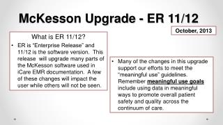 McKesson Upgrade - ER 11/12
