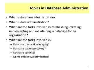 Topics in Database Administration