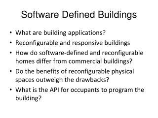 Software Defined Buildings