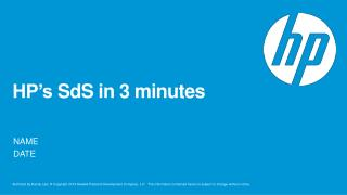 HP's  SdS  in 3 minutes