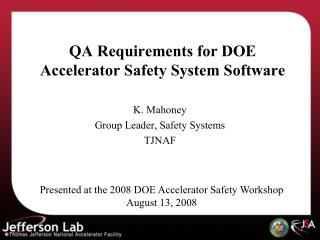 QA Requirements for DOE Accelerator Safety System Software