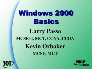 Windows 2000 Basics
