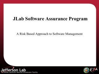 JLab Software Assurance Program