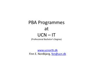 PBA  Programmes at UCN – IT (Professional Bachelor's Degree)