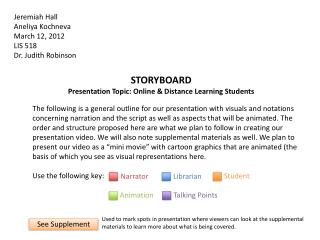 STORYBOARD Presentation Topic: Online & Distance Learning Students