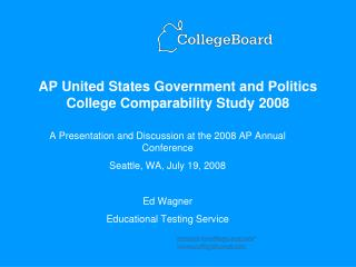 AP United States Government and Politics College Comparability Study 2008